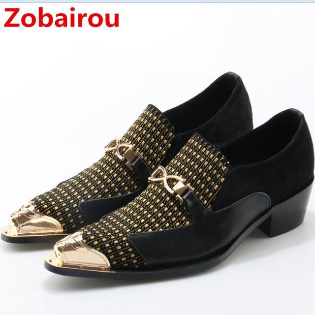 e2b4f2854 Sapato social Zobairou oxford sapatos para homens couro genuíno sapatas de  vestido dos homens de ouro