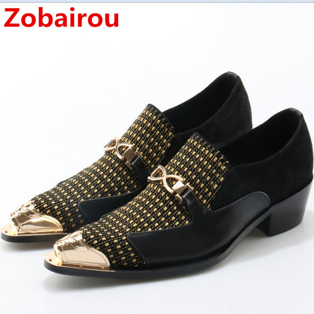 Zobairou sapato social oxford shoes for men genuine leather gold dress  shoes men flats spiked loafers wedding shoes 1a2b1bd56b3e