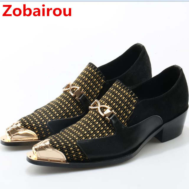 Zobairou sapato social oxford shoes for men genuine leather gold dress  shoes men flats spiked loafers 3a31b55ee27d