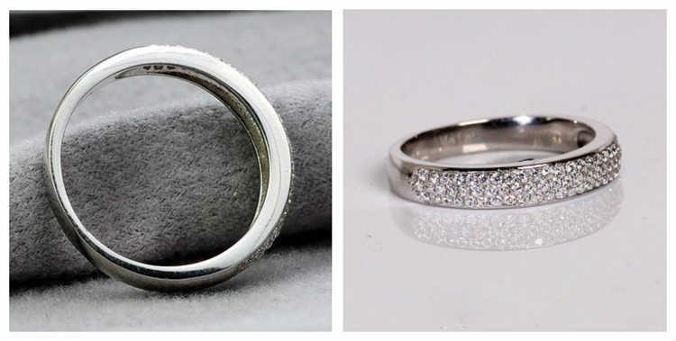 3 lignes Micro pavé bijoux en argent Sterling bague de mariage Semi monture SONA simuler bague de bande de diamant superbe bijoux 925