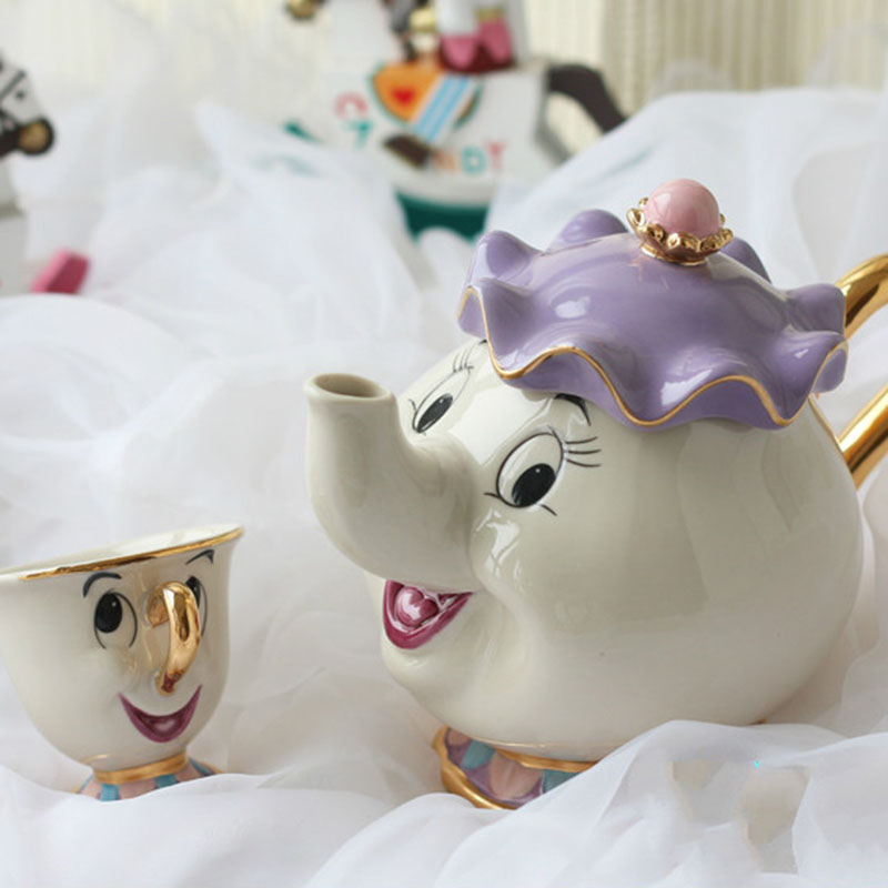 2018 new style and Classical Cartoon Beauty And The Beast Teapot Mug Mrs Potts Chip 18K Goldplated Cup Coffeware Sets fast ship