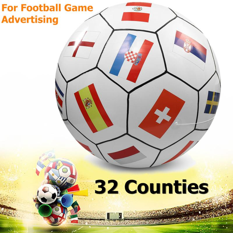 Giant Inflatable Football Model 2m PVC 2018 Football World Cup 32 Counties for Game Advertising Celebration with 4 Fixed Ropes