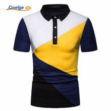 Covrlge Men Summer Fashion Camisa Polo Shirts High Quality Patchuwork Short Sleeve Mens Shirt Brand Business Tee Top MTP112