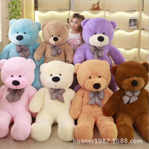 Giant 200cm Colorful Teddy Bear With Bow tie Plush Stuffed Gift Girls Toys Party Decoration fancytrader biggest in the world pluch bear toys real jumbo 134 340cm huge giant plush stuffed bear 2 sizes ft90451