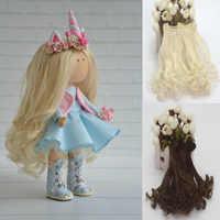 Mini peluca DIY de 15cm para muñecas, Material de cabello liso, peluca para muñecas BJD de alta temperatura, accesorios