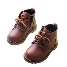 High Quality Shoes Boys Girls Casual Riding, Equestrian Spring/Autumn Lace-Up Ankle Boots Kids Baby Anti-skid Leather Boots 03