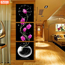 UzeQu Triptych Full Diamond Embroidery Wall Clock 5D DIY Diamond Painting Cross Stitch Flower Watch Diamond Mosaic Rhinestones