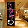 Three Pictures Diamond Mosaic 5D DIY Wall Clock Diamond Painting Cross Stitch Floral Watch Diamond Embroidery