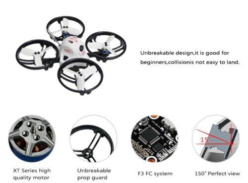 Drone de course JMT ET125 PNP sans balai FPV RC Mini quadrirotor Compatible avec le récepteur Frsky