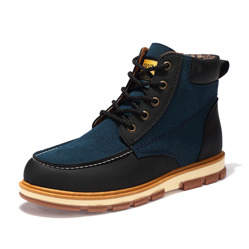 Fashion Casual Solid Men Motorcycle Boots Ankle Round Toe Low Lace up Martin Boots Spring Autumm Sewing Outdoor Working Shoes
