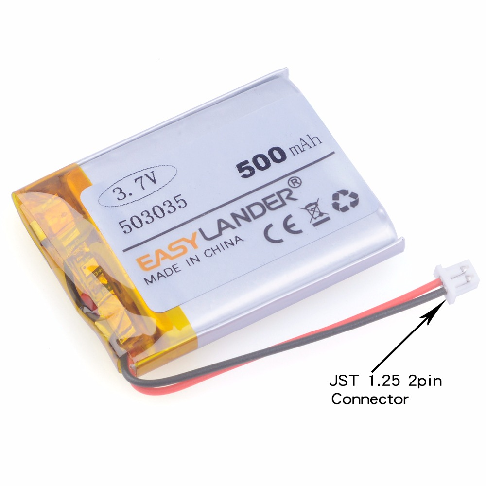 <font><b>053035</b></font> 3.7V 500mAh Rechargeable Li Polymer Li-ion Battery For Bluetooth Headset GPS PSP navigation MP3 MP4 MP5 DVR 503035 image
