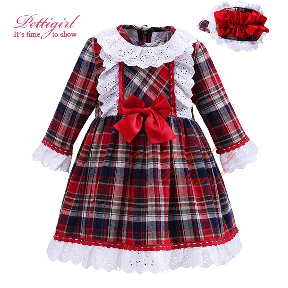 Pettigirl 2017New Autumn Girl Grid Dress England Style Plaid Long Sleeve Brief Lace Bowknot Casual Children
