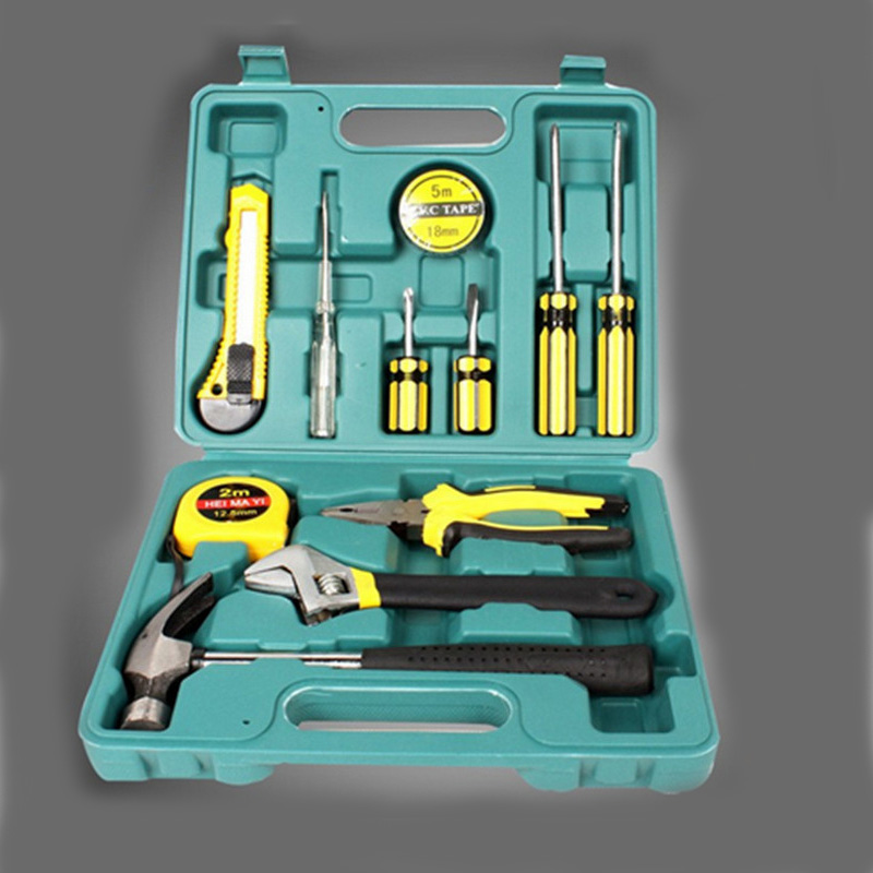 12 In 1 Combination Hardware Tool Set Hammer&Pliers&Screwdriver&Wrenches&Knife&Test Pencil Hand Tool Box for Household 10 in 1 rc helicopter screwdriver pliers hex repair tools kits box set combination hand tool set