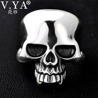 V.YA 925 Silver Male Men Rings Vintage Adjustable Size Skull Big Ring Punk Rock Skeletons Mens Thai Silver Jewelry