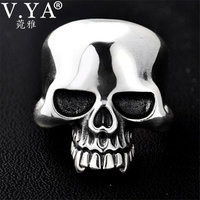 V.YA 925 Silver Male Men Rings Vintage Adjustable Size Skull Big Ring Punk Rock Skeletons Mens Thai Silver Jewelry