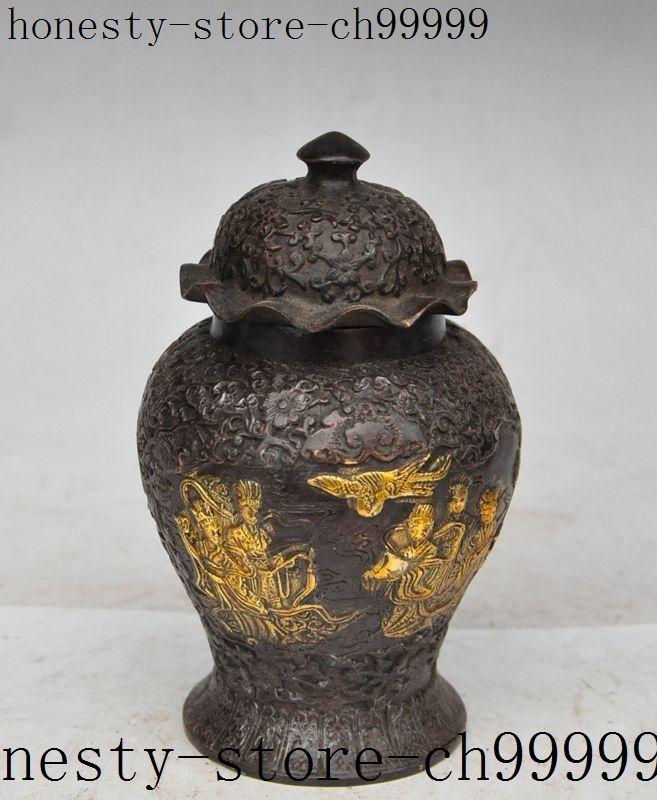 Noël chinois bronze doré belle beauté fille fée statue réservoirs Crock bouteille Pot halloween