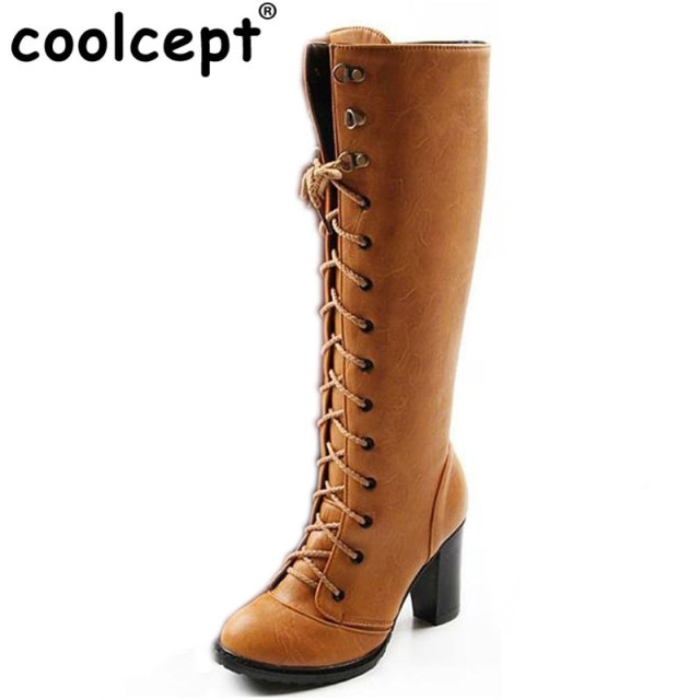 Coolcept Size 35-43 Women Over Knee Boots Cross Strap High Heel Winter Botas Feminina Zipper Warm Long Boot Footwear Shoes AH103