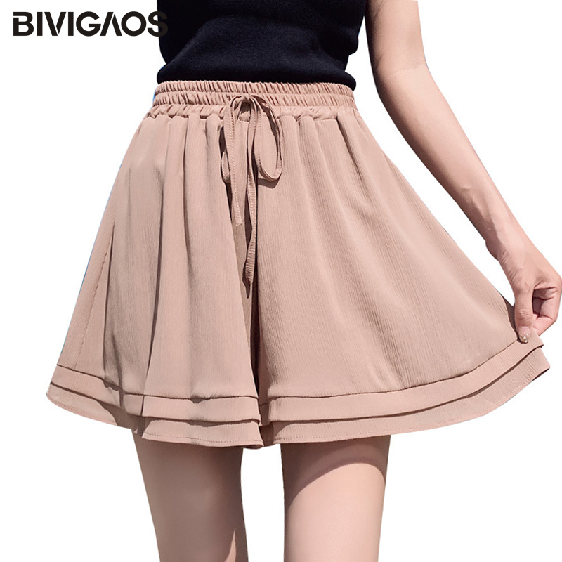 BIVIGAOS 2019 New Summer Chiffon   Shorts   Korean Ladies Double Layer High Waist Wide Leg   Shorts   Casual Loose Skirt   Short   For Women
