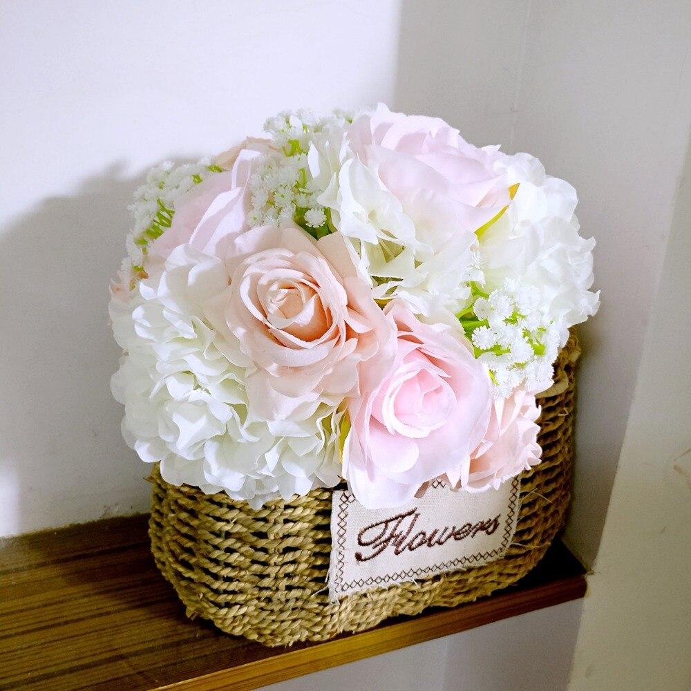Handgjord silke satin Rose Blommor Wedding Bride Bouquet Konstgjord - Bröllopstillbehör - Foto 5