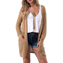 Hollow Out Hooded Long Cardigans Thin Women Autumn Casual Knitted Sweaters Pockets Outwear