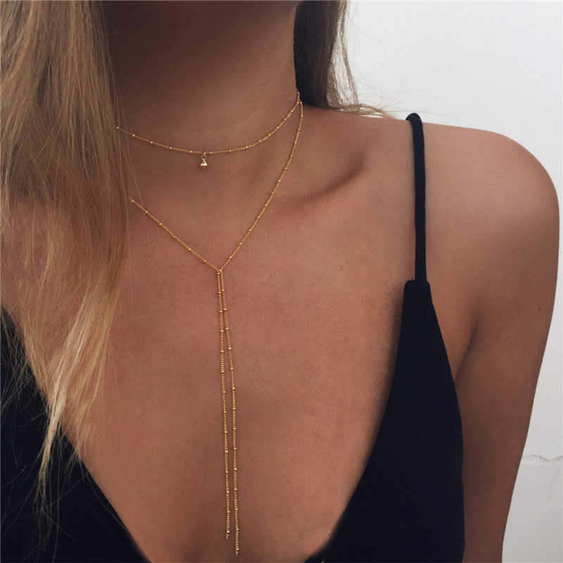 Ahmed Fashion Simple Star Moon Heart Arrow Pendant Chain Necklace for Women Gold Silver Choker Jewelry Gifts drop shipping