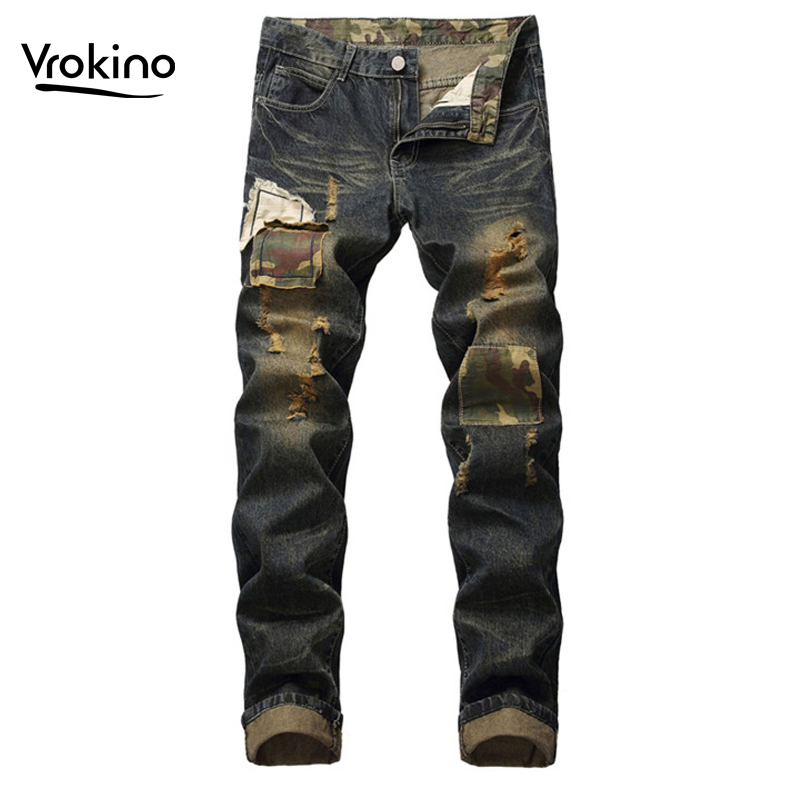 VROKINO Brand 2019 Summer Spring And Autumn Jeans Men's High Quality Distressed Holes Jeans Men's Hip Hop Trousers Jeans 40 42
