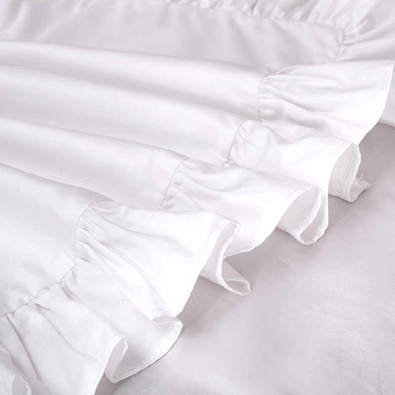 1PCS 100% Cotone Volant Federa Solido Volant Bianco Copertura del Cuscino Europeo Cuscino Della Copertura Della Protezione Biancheria Da Letto 48*74 centimetri (SENZA Riempimento)