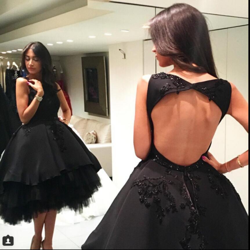 Sexy Open Back Little Black High Low   Cocktail     Dresses   2019 robe de   cocktail   Short Front Long Back Beaded Appliques Party   Dress