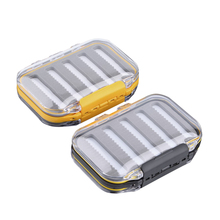 106*76*37mm Plastic Fishing Tackle Box Boating Waterproof Pocket Double Side Clear Slit Foam fly Fishing Tackle Box Case