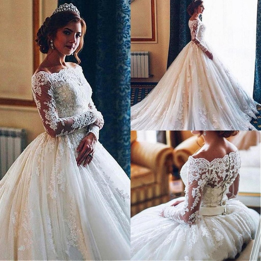 LADY NOIVAS Robe De Mariee 2019 Ball Gown Boho Wedding Dress Lace Appliques Boat Neck Bridal