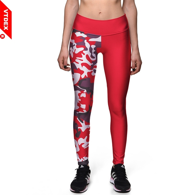 f168bf2951aa5 VTDEX Red Sports Trousers Elastic Camouflage Printed Skinny Yoga Pants  Quick Drying Fitness GYM Leggings Plus Size 3XL