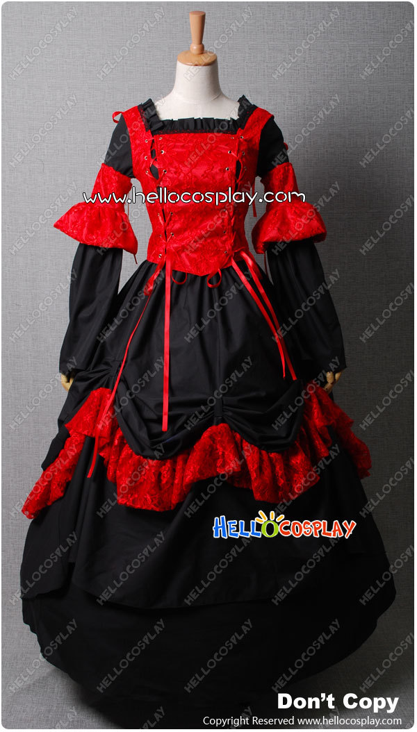 Victorian Corset Lace Lolita Red Dress Ball Gown Prom  H008