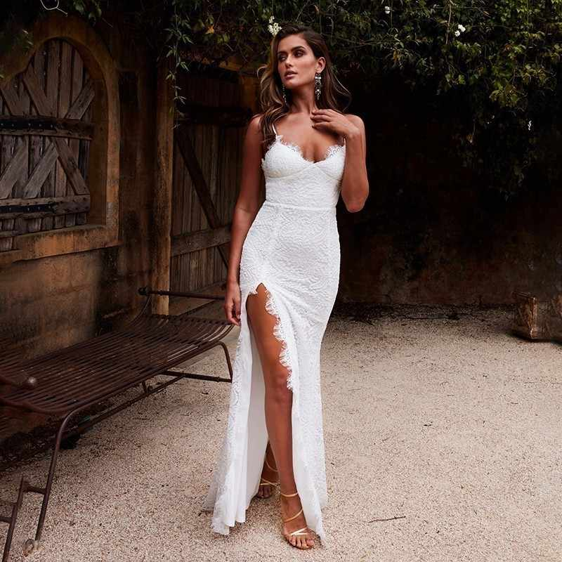 f79b6708a5785 Ohvera White Sexy Lace Dress Women Spaghetti Strap Maxi Long Dress Elegant  High Split Backless Party Dresses Summer Vestidos