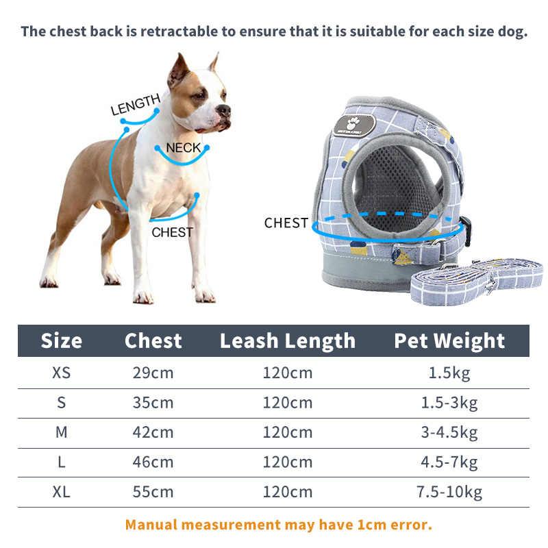 PET Dog Cat สายรัด Leash ปรับเดินอุปกรณ์ Breathable ลายสก๊อตลูกสุนัขขนาดเล็ก Medidum สุนัขขนาดใหญ่