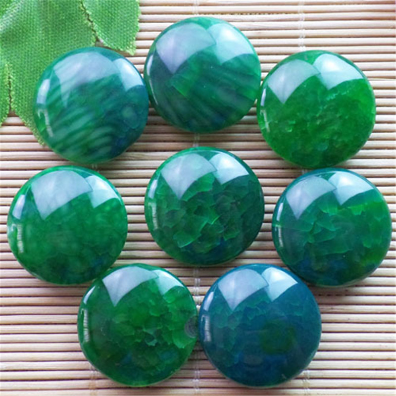 (8 pieces/lot) Wholesale Natural Green Dragon Veins Agates Round CAB CABOCHON 22x8mm Free Shipping Fashion Jewelry ZY3351
