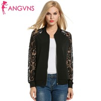 ANGVNS Women Jacket Autumn Coat Casual Lace Patchwork Zip Up Short Slim Fit Bomber Jacket