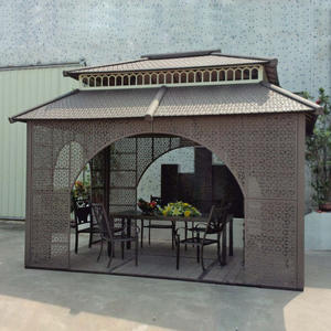 Pavilion Garden Tent Furniture-House Iron-Frame Gazebos Sun-Shade Patio Rattan Wicker