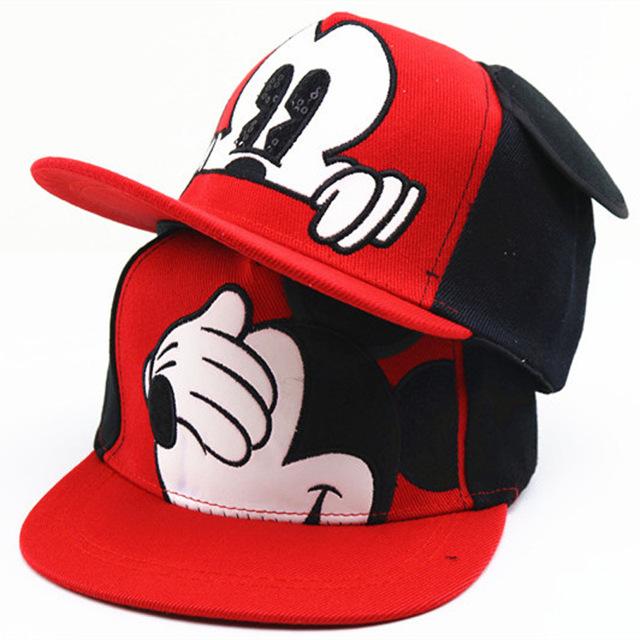 Dessin Animé de mode Enfants Chapeau Garçon Et Fille Casquettes de Baseball Mignon Souris Mickey Baseball Chapeau Avec Oreilles Plat casquette de baseball Bébé voyage Chapeaux