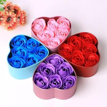 6Pcs Rose Flower Soap Petal Bath Body Soap Heart Scented Christmas Gift Wedding Festival Decoration Gift Candy box Air freshener