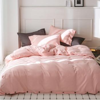 4Pieces Queen King size 100%Cotton Thick Bedding set Pink Green Coffee Blue Warm Soft Bedsheet set Duvet cover Pillowcase 36