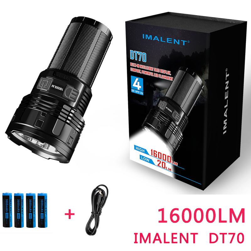 2017 NOUVEAU IMALENT DT70 CREE XHP70 16000 Lumens 700 mètres Interface De Charge USB LED Lampe De Poche par 4*18650 Batteries
