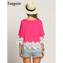 Tengeio Plus Size Women Clothing Top Femme Net Yarn 3/4 Batwing Sleeve Summer Casual white floral Lace Blouse Shirt Camisas Muje