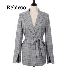 Autumn Women Jackets Gray Plaid Office Lady 2019 Fashion Bow Sashes Split Sleeve Elegant Coats