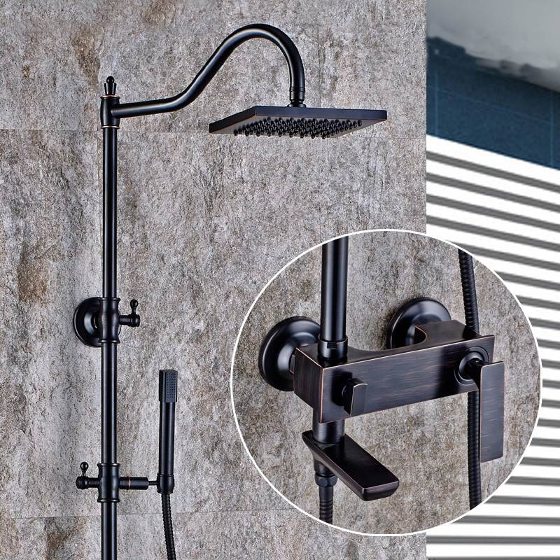 Antique rain shower faucet mixer tap, Oil Rubbed Bronze shower faucet set shower head, Bathroom wall mount shower faucet height