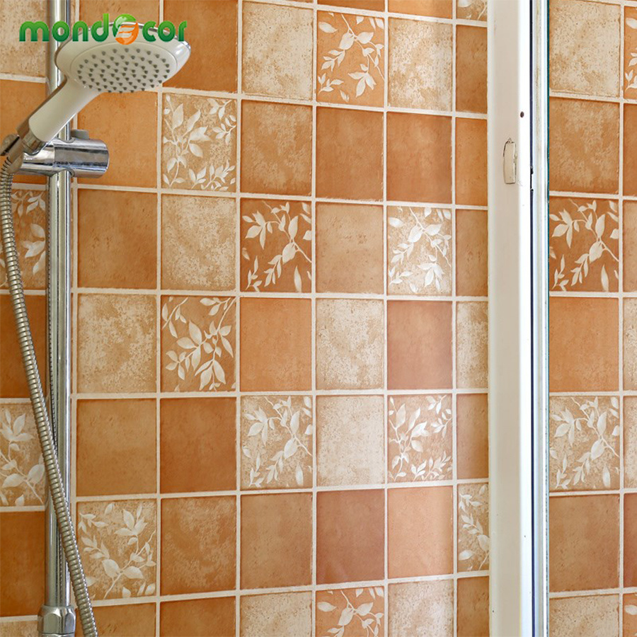 - Bathroom Wall Decor PVC Waterproof Wall Sticker Vinyl Mosaic Tiles