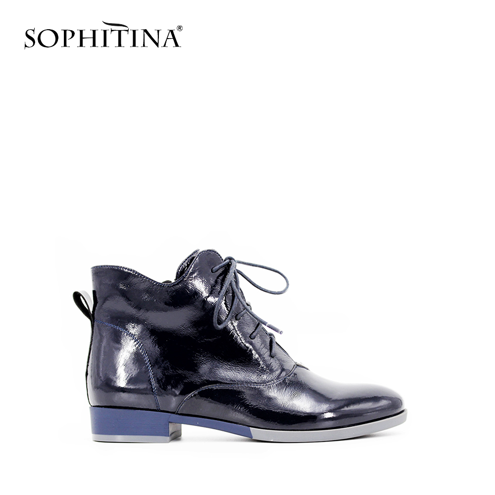 SOPHITINA Ankle Boots Dark Blue Patent Leather Low Heel Lace-up Zipper Short High Quality Ladies Martin Boots Short Plush B20 ...