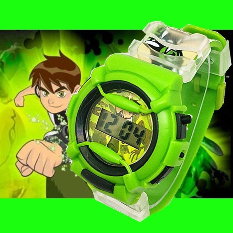 2019 Leisure Silicone Cute Handsome Cartoon Watch Boy Fashion Ben10 Children Electronic Clock Kids Watches Kol Saati