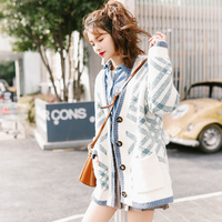 Long Sweater Cardigan Female 2019 Autumn Winter New Korean Loose V Collar Plaid Bohemian Computer Knitted Vintage Sweater Jacket