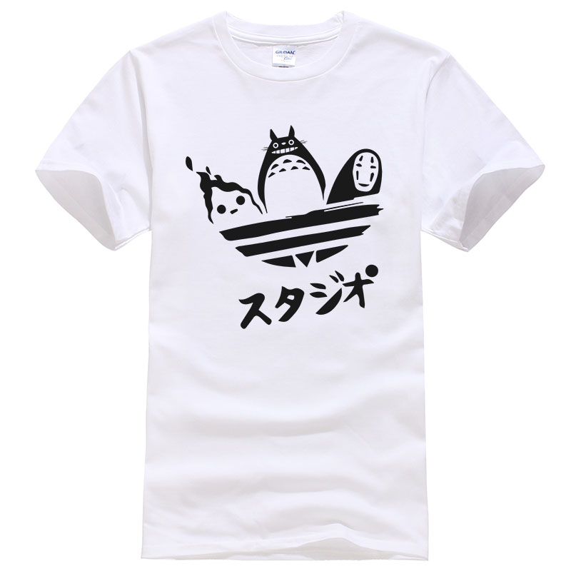 2018 Japanese Anime Totoro   T     Shirt   Men Women Summer Cotton Printed   T  -  shirt   Unisex Funny Tees Creative Design Cool Tops T256