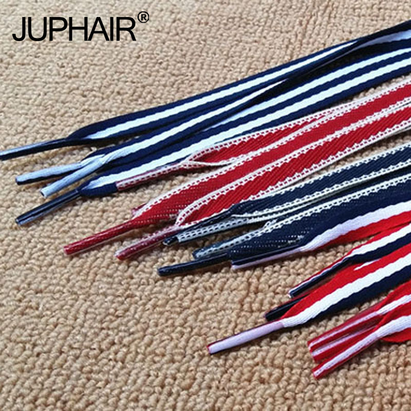 1 Pair Red White Blue Polyester Stripe Lace Canvas Shoes Color Decorating Pattern Colorful Shoelaces Flat Laces Shoelaces Laces active side stripe pattern sports hoodies in white